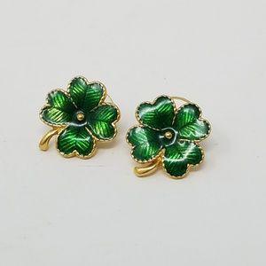 Vintage 4 leaf clover enamel gold tone earrings